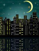 Vector illustration of city in the dark — Stockvektor