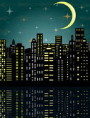 Vector illustration of city in the dark — Stock Vector