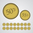 Gold Percentage Off Stickers — Stock Vector