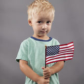 Cute Boy Holding Flag — Stock Photo