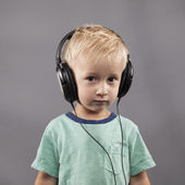 Serious Boy with Headphones — Stock Photo