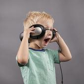 Boy Singing With Headphones — Stock Photo