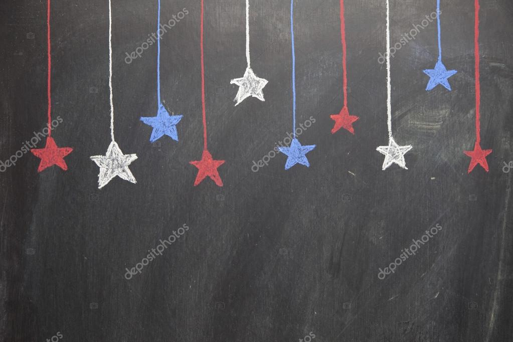 Ten red, white, and blue stars hang from the top of a horizontal chalkboard.  Foto Stock #12825626