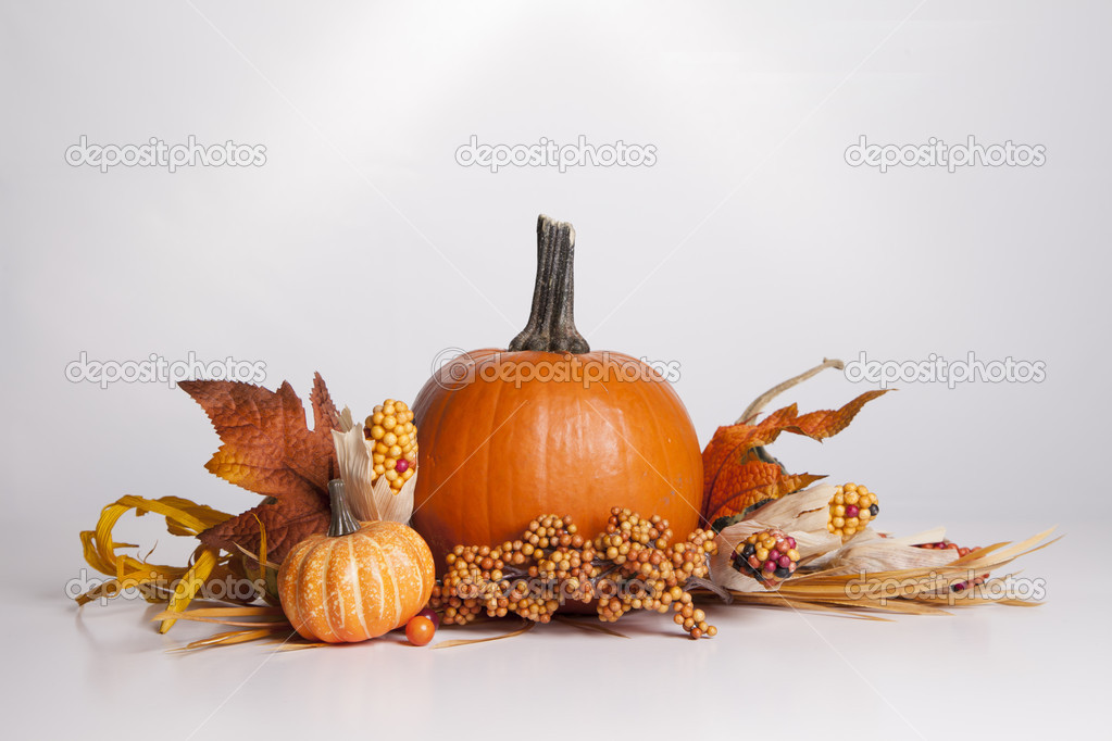 Several Fall items are clustered together to form a decorative arrangement. — Stock Photo #13120431