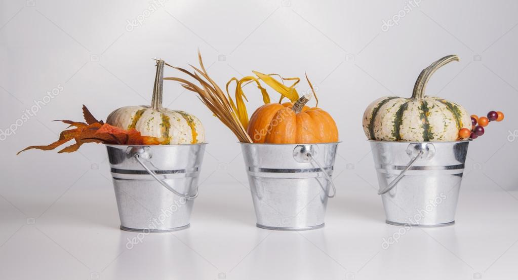 Three metal buckets are filled with fall pumpkins and decorations. — Stock Photo #13120441