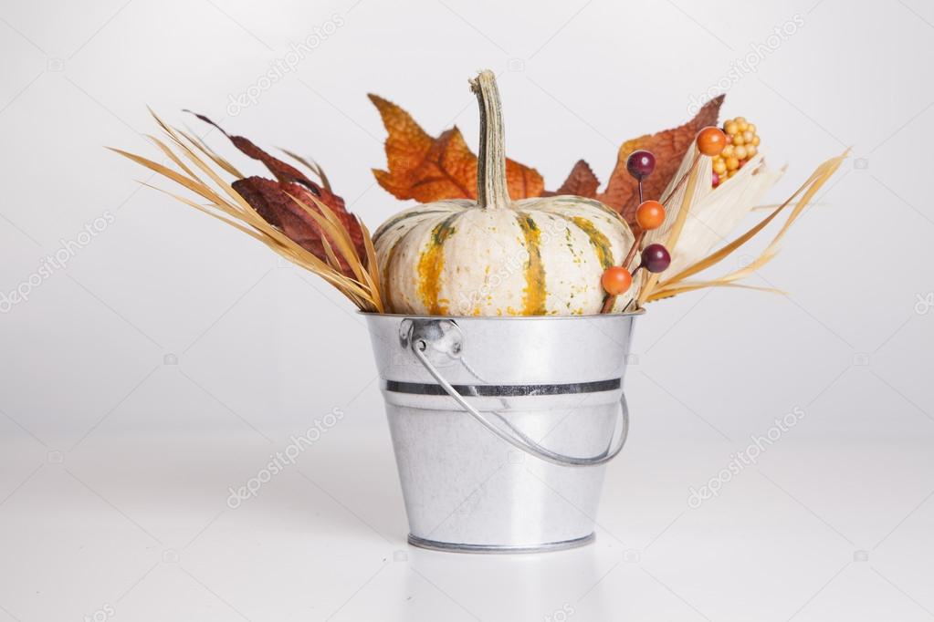 An isolated metal bucket is filled with fall decorations.  Foto Stock #13120459