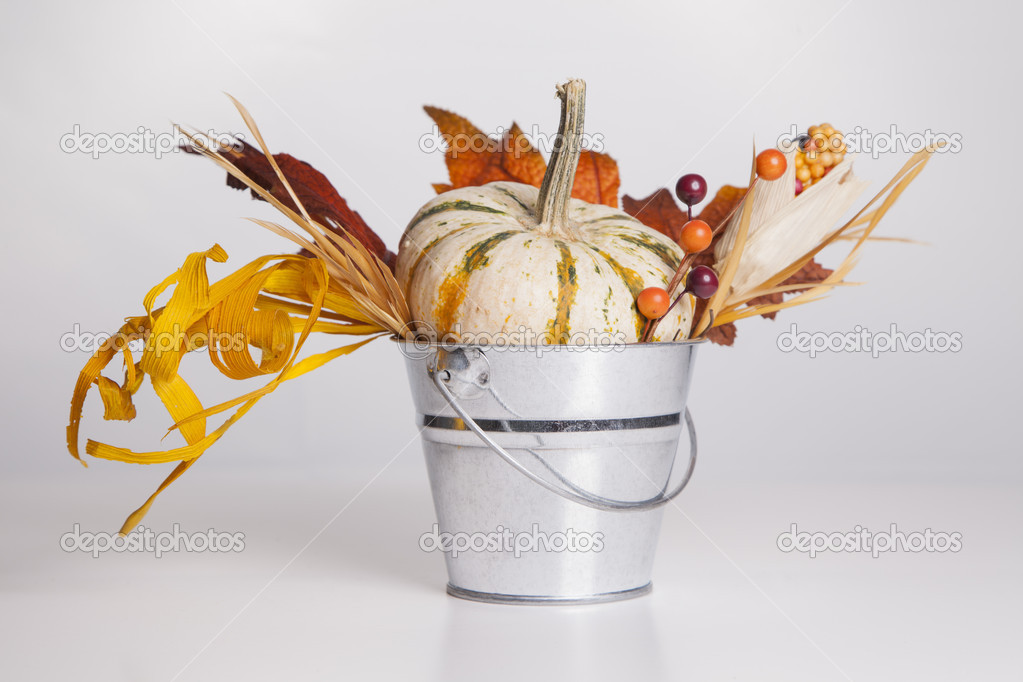 An isolated metal bucket is filled with fall decorations. — Stock Photo #13120477