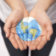 Young Hands Hold World — Stock Photo