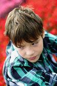 Boy in plaid shirt — Stock Photo