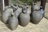 Group of ceramic pots and vessels for sale. — Stok fotoğraf
