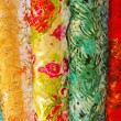 Colorful Chinese silk samples — 图库照片