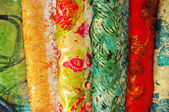 Colorful Chinese silk samples — Stock Photo