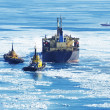 Ship on ice — Stock Photo