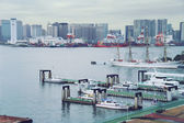 TOKYO - September 2009 view of the bay, terminal and container termina lcoast , parking guard boats — Foto Stock