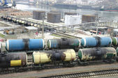 Fuel oil terminal tanks in the port — Photo