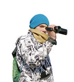 Young boy with camcorder on white background — Stock Photo