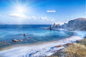 landscape on winter sea, — Stock Photo
