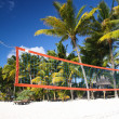 Tropical beach with volleyball net under palm trees — Stock Photo #41961171