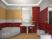 Modern interior of a bathroom 3D — Stock Photo