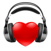 Red heart with headphones. Music concept. — Stock Vector