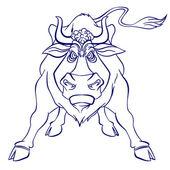 разъяренный бык вектор, изолированные на белом фоне — Cтоковый вектор
