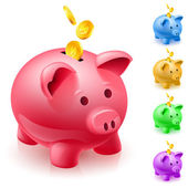 Banco grande porco rosa com quatro bancos de porco multicoloridas sobre fundo branco — Foto Stock