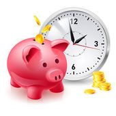 Pink pig bank with coins and clock — Stock Vector