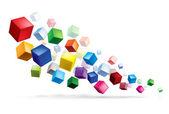 Version raster. cubes dans diverses combinaisons de position pour la formation — Vecteur