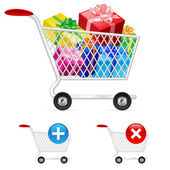 Buy many gift boxes full shopping cart — Stockvector