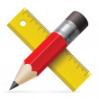 Pencil, ruler. Vector illustration. — Stock vektor