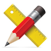 Pencil, ruler. Vector illustration. — Vettoriale Stock