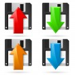 Floppy and colorful arrows on white background — Stock Vector