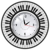 Realistic Office Clock and musical keyboard. Illustration on white background. — Stock Vector