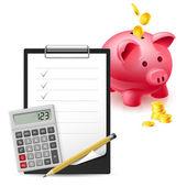 Banque de gros cochon rose, dollars, note et stylo, horloge de bureau classique et calculatrice sur fond blanc — Vecteur