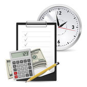 Dollars, Note and Pen, Classic Office Clock and Calculator on a white background — Stock Vector