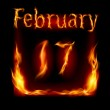 February in Calendar of Fire. Icon on black background — Stock Vector #16220127