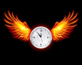Horloge avec des ailes de feu — Vecteur