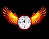 Klok met vuur vleugels — Stockvector