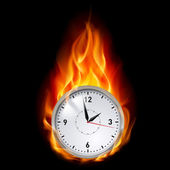 Clock in fire — Stock Vector