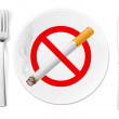 The sign No Smoking on a plate with fork and knife — Stock Vector
