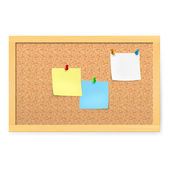 Realistic corkboard with pushpins and blank paper — Stock Vector