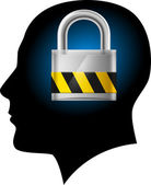Man with padlock in head — Stock Vector