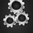 Gearwheel on industrial grey background — Stock Vector