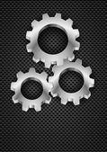 Gearwheel on industrial grey background — Stock Vector