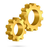 Golden gearwheel isolated on white background — Stock Vector