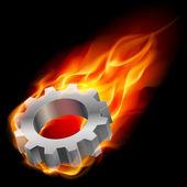 Gearwheel in fire — Stock Vector