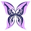 Stock Vector: Vector illustration of lilac icon butterfly