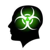 Raster version. Human face with Biohazard sign. Illustration on white background — Stock Vector