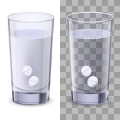 Glass of water and pills — Stock Vector