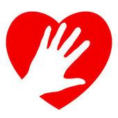 Mão e coração — Vetor de Stock